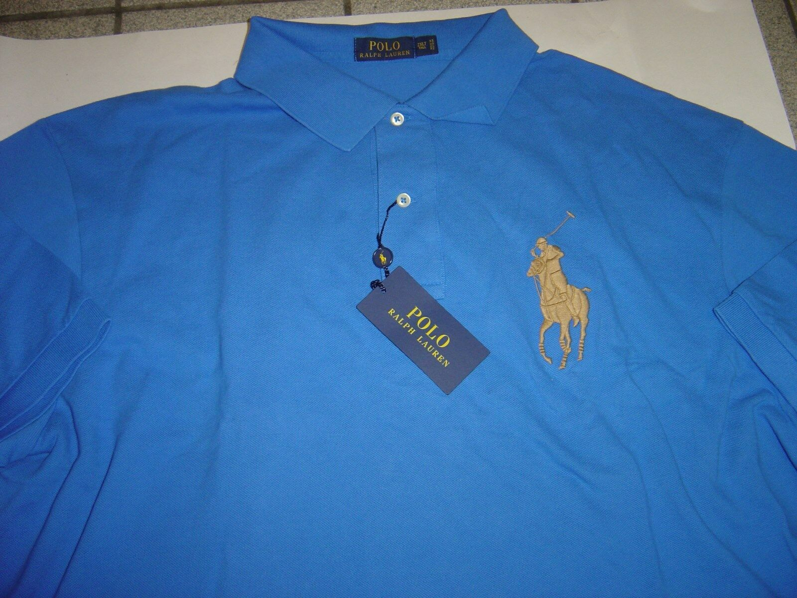 BIG MENS RALPH LAUREN ROYAL W TAN LG PONY S S POLO SHIRT SIZE 2XLT