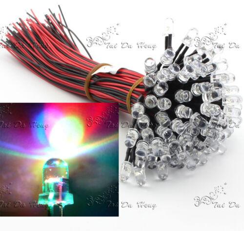 Bulk 12V DC Pre Wired Superbright Clear 3mm LED Various Colours LED Lamp Light