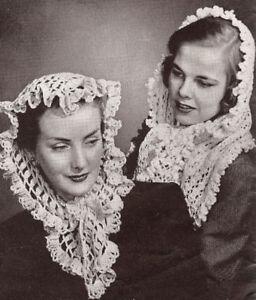 Vintage Knitting Crochet Pattern Fascinator Head Scarf Ebay
