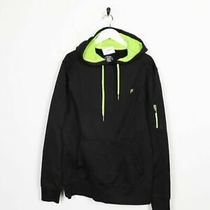 Vintage-FILA-Small-Logo-Polyester-Hoodie-Sweatshirt-Black-Medium-M