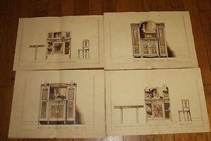 Details Sur 4 Ancien Dessins Originaux D Meubles Annee 20 41 Cm Par 21 Cm Environ