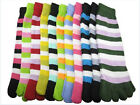 LOT 5/10 Pairs Warm Soft Long Women Socks Five Fingers Colorful Stripes Toe Sock