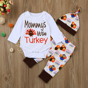 cf2408283c35 UK Newborn Infant Baby Girls Boys Romper Tops+Pants+Hat Thanksgiving ...