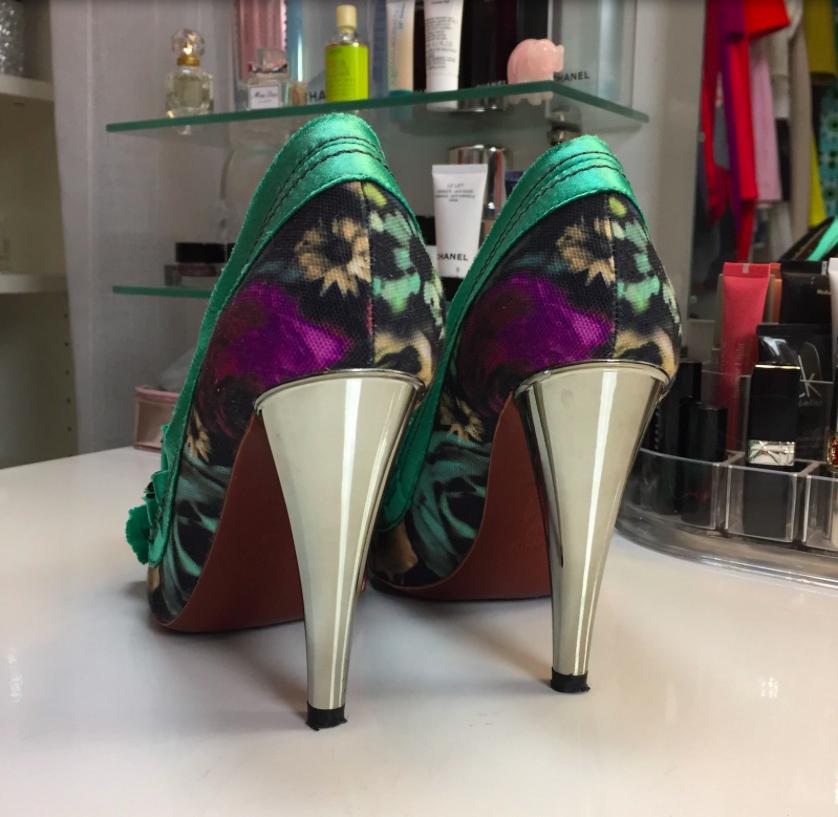 Lanvin For H&M Heels 37 Pumps Schleife Blumen Türkis Silber HM Blogger Fashion