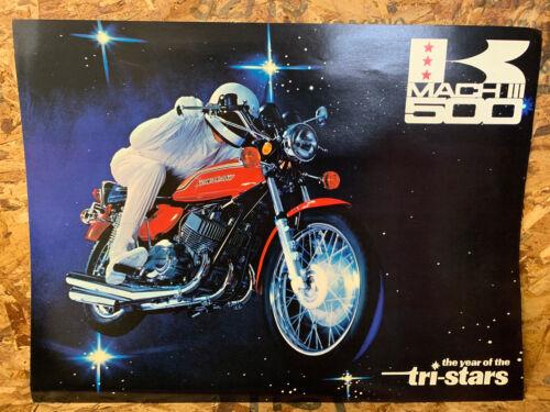 1972 KAWASAKI H1 H-1 500 MOTORCYCLE Brochure Fold Out Printed Japan Original