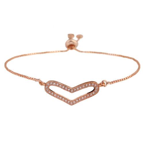 Women Fashion 14K CRISTAL PLAQUÉ OR ROSE Pave charm cœur réglable bracelet