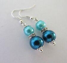 Aqua teal glass pearl rhinestone spacer dangle drop earrings summer dare2gobare
