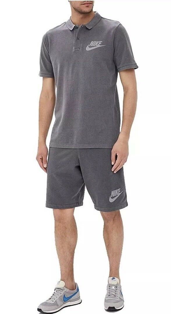 NEW NIKE MEN'S SPORTSWEAR WASHED POLO PQ HBR SHIRTS TOPS FADE GREY SZ  SMALL