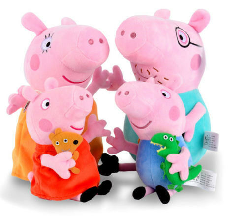 4 PCS Peppa Pig Stuffed Soft Plush Doll Toy Peppa George Mummy Daddy Xmas Gift