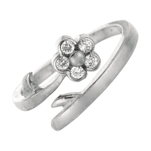 Adjustable Floral Round CZ Toe Ring Real 925 Sterling Silver ONE SIZE FITS ALL