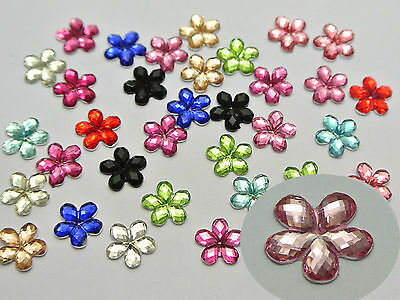 """500 Mixed Color Acrylic Flatback Faceted Flower Rhinestone Gems 8mm(0.32"""")"""