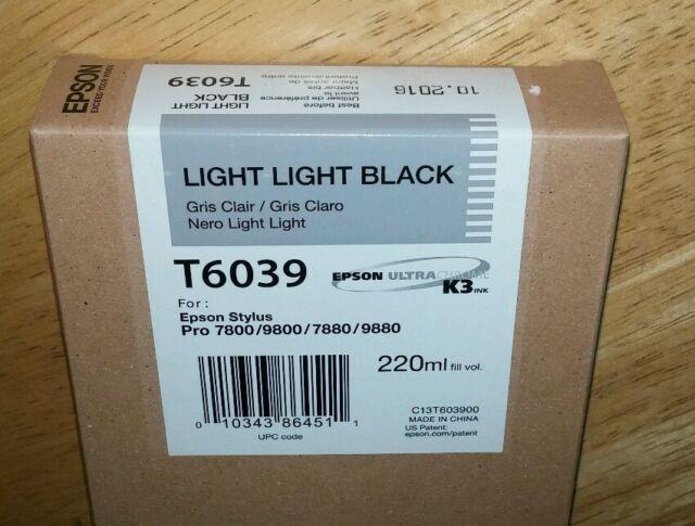 11-2014 GENUINE EPSON T6039 LIGHT LIGHT BLACK 220ml INK STYLUS PRO 7880 9880