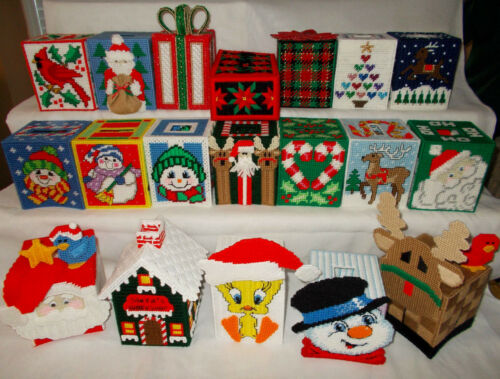 Handmade Plastic Canvas Tissue Boxes, Group 1 (Toppers / Covers)