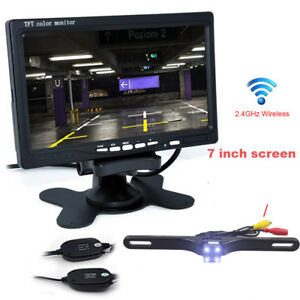 "7/"" TFT Rear View Monitor+Wireless Night Vision Car Bus Reverse Backup Camera Kit"