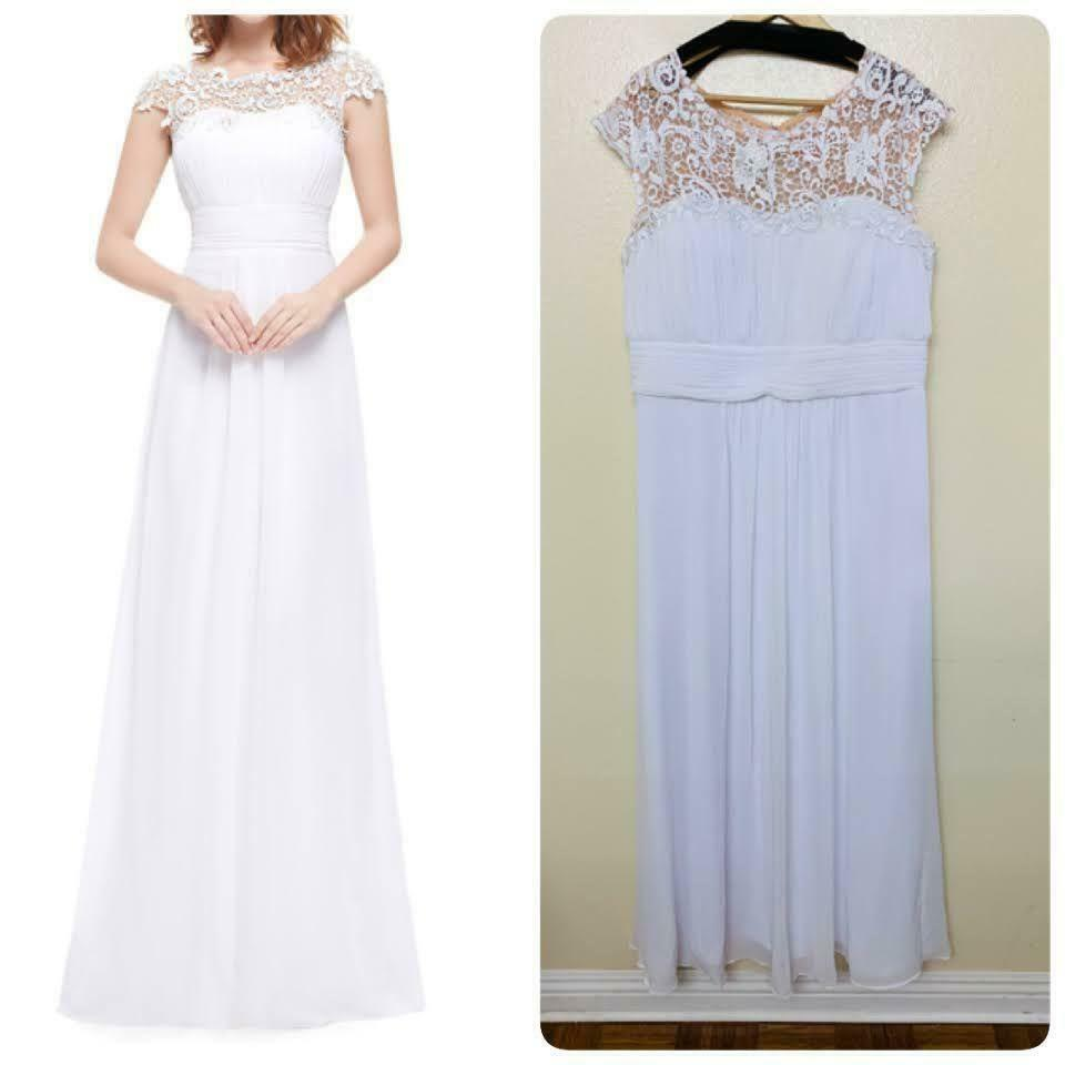 Ever Pretty Evening Wedding Gown Embellished Lace White Floor Length 9993