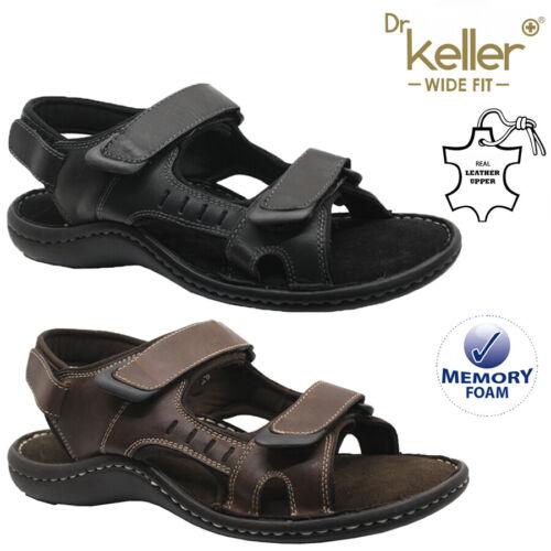 MENS DR KELLER LEATHER MEMORY FOAM SUMMER SANDALS WALKING SPORTS MULES SHOES