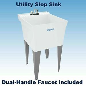 LAUNDRY-SLOP-SINK-Utility-Tub-w-Faucet-amp-Fittings-Workshop-Garage-24-034-x-20-034-NEW