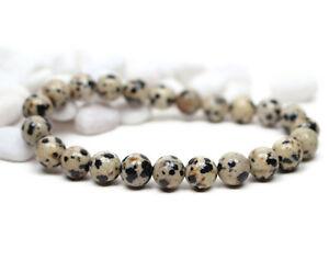 Gemstone Dalmatian Jasper Bracelet Mens Mala Beaded Stretch Bracelet