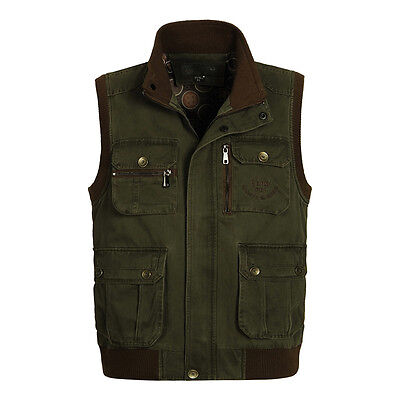 Hot men's outdoor Multi-pocket leisure fishing waistcoat cotton vests waistcoat