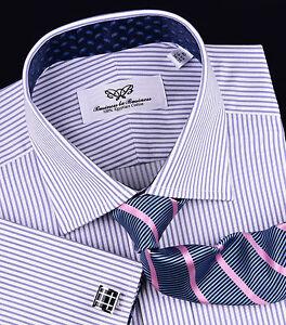 Purple-Thin-Striped-Formal-Business-Dress-Shirt-Luxury-Herringbone-Fashion-Blue