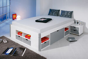 bett 140x200 cm doppelbett stauraumbett funktionsbett grau rost kiefer massiv. Black Bedroom Furniture Sets. Home Design Ideas