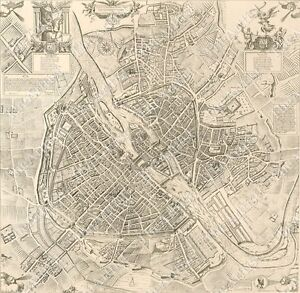 HUGE VINTAGE historical PARIS FRANCE 1609 OLD ANTIQUE STREET STYLE