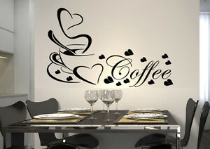 wandtattoo spruch cafe herz coffee kaffee k che wkf33 ebay. Black Bedroom Furniture Sets. Home Design Ideas