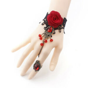 Gothic-Lolita-Retro-Vintage-Flower-Vampires-Tassels-Roses-Lace-Bracelets-CHUK