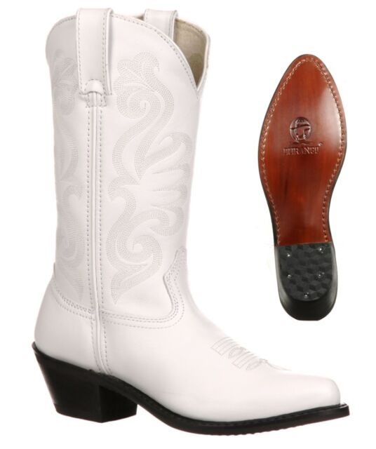 """NEW Durango Boots Women's 11"""" White Leather Western Cowboy Boots Ladies RD4111"""