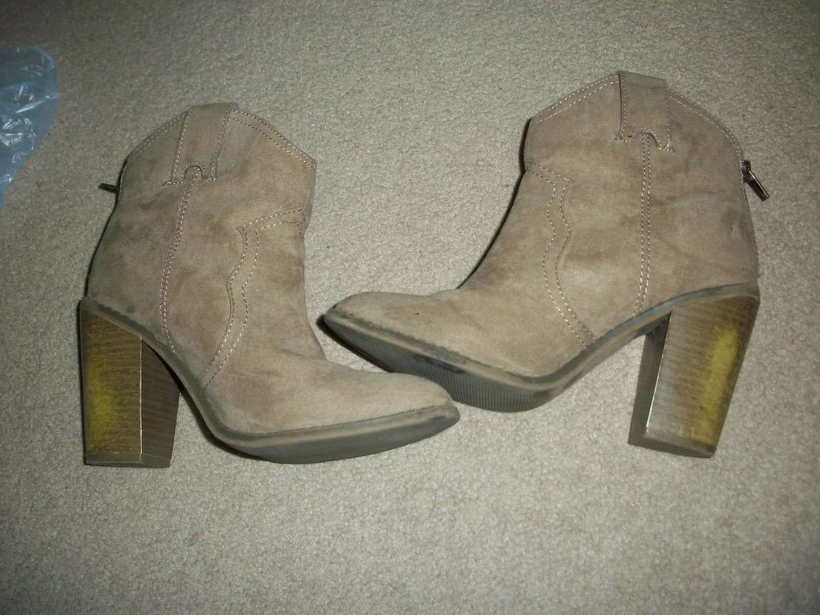 LADIES TAN ZIPPERED SUEDE  WESTERN BOOTS BY MERONA...SIZE 7.5