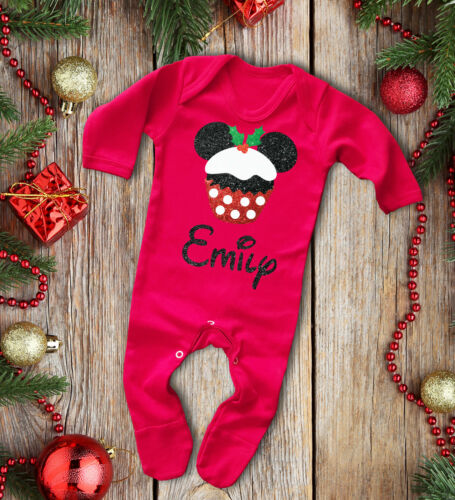Custom Baby/'s red long sleeve rompasuit with glitter mouse Christmas pudding