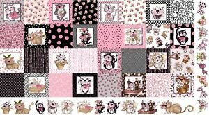 Loralie-Medley-Fancy-Cats-Kitty-Flowers-Pink-Black-Cotton-Fabric-24-034-X44-034-Panel