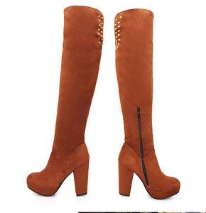nuovo concetto 223e8 01099 Dettagli su stivali alti invernali comodi tacco plateau 14 cm marroni pelle  sintetica 8928