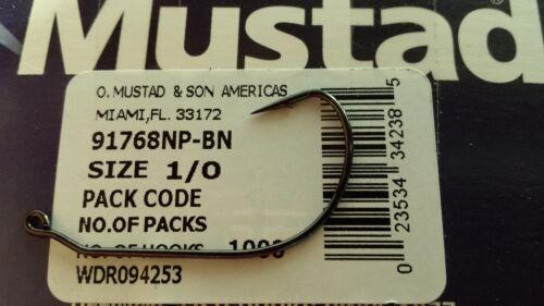 25 Mustad Ultra Point 28 Degree Jig Hooks Size 1//0-91768NP-BN 91768BLN