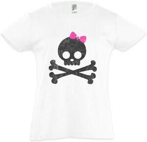 Girlie-Skull-amp-Bones-Kinder-Maedchen-T-Shirt-Skulls-Schleife-Schaedel-Fun-Pirat