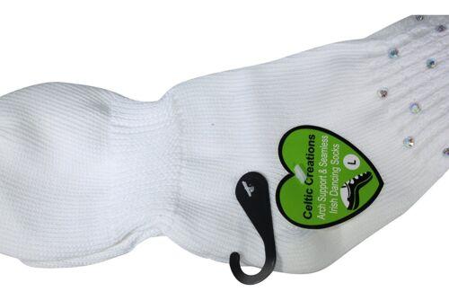 IRISH DANCE SOCKS POODLE Double Diamonte Arch Support Seamless Socks 1 Pair