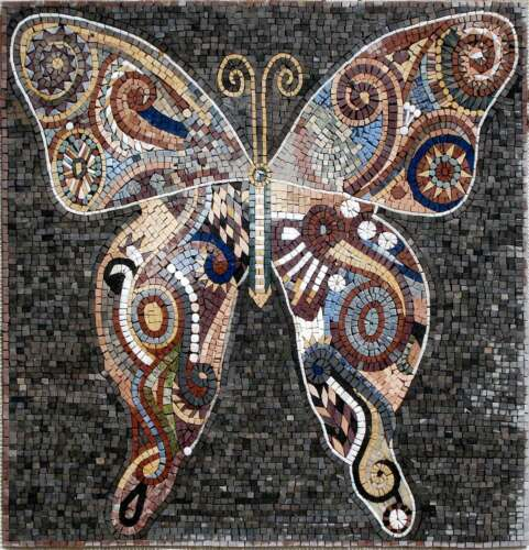 "28/""x28/"" Handmade Butterfly Mural Home Design Marble Mosaic Stone Art"