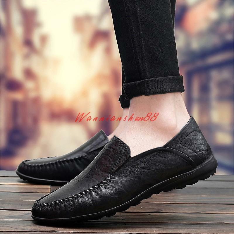 Mens casual slip on loafer flat leather dress moccasins driving shoes plus size