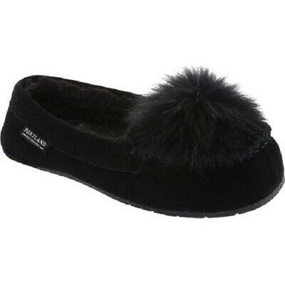 And Great Variety Of Designs And Colors Honest Portland Boot Company Paloma Women's Black Suede Inner Wool Fur Pom Moccasin 7 M Famous For High Quality Raw Materials Full Range Of Specifications And Sizes