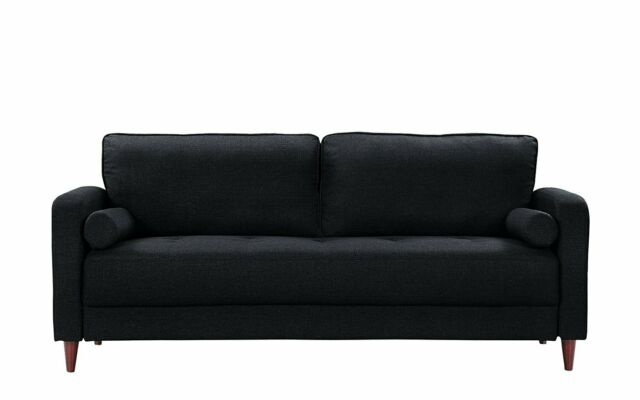 Super Black Modern Home Sofa Mid Century Linen Fabric Living Room Couch Two Pillows Forskolin Free Trial Chair Design Images Forskolin Free Trialorg
