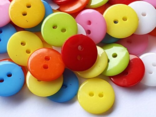 30 MIXED ACRYLIC SEWING CRAFT BUTTONS 12mm 2 HOLE EMBELLISHMENTS Scrapbook