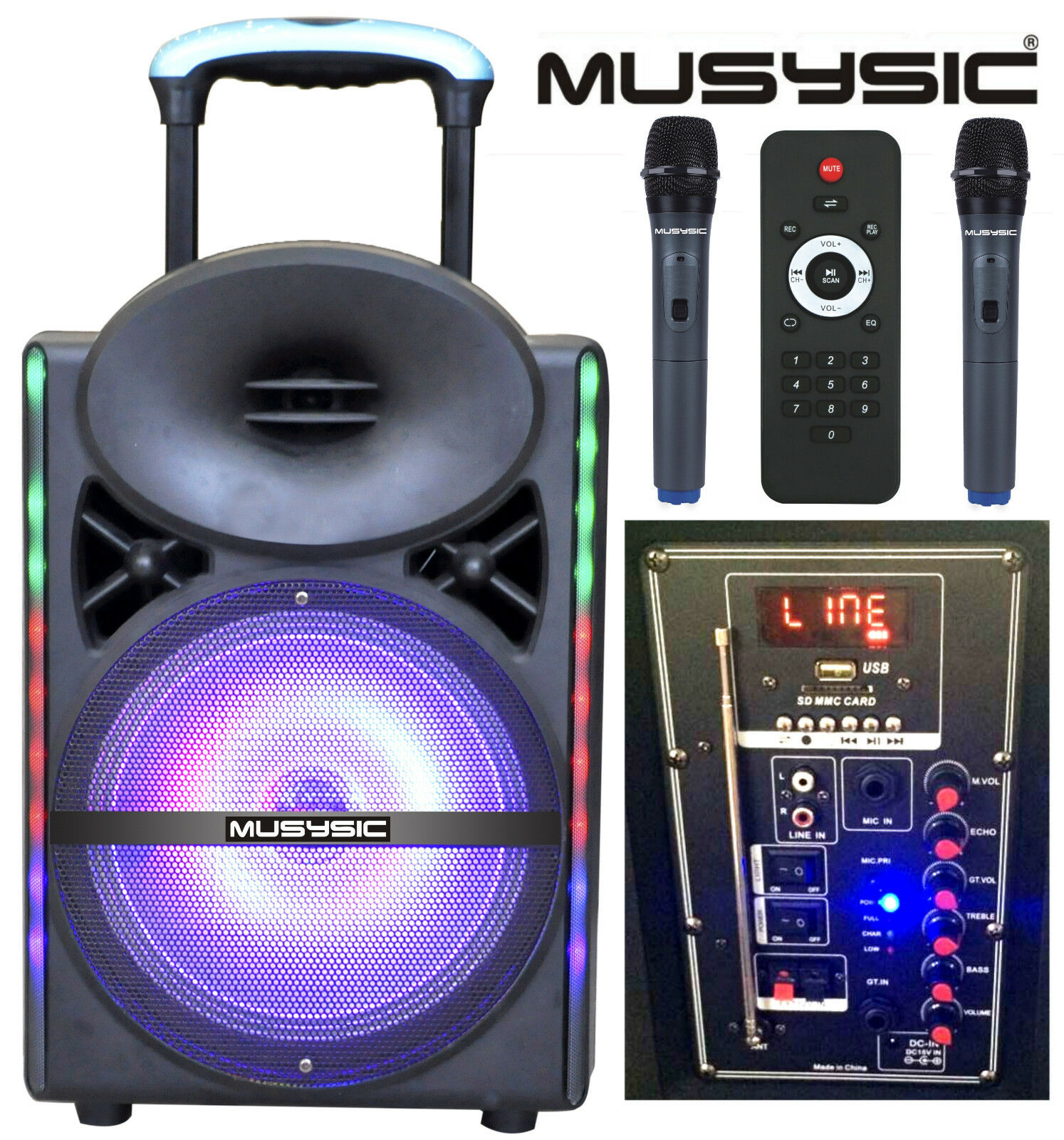 Professional 12  1200W Speaker PA System Dual UHF Wireless Mics LCD Light MU-17D