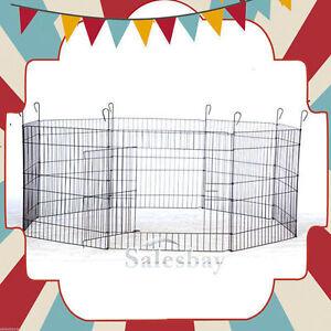 New-8-Panels-Pet-Dog-Puppy-Guinea-Rabbit-Cage-Pet-Playpen-Enclosure-Cage-w-Door