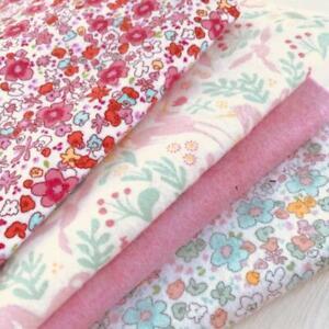 FLANNEL-brushed-cotton-Fabric-Bundle-Floral-Unicorn-25cm-squares-x4
