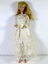 DRESSED BARBIE DOLL IN LACE WEDDING GOWN BRIDE