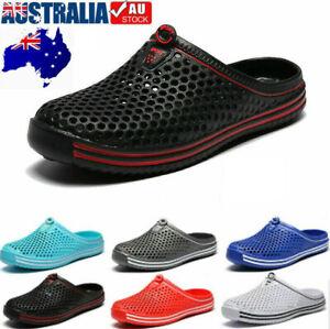 Mens Womens Slip On Slippers Hollow Beach Sandals Clogs Garden Flat Shoes Casual