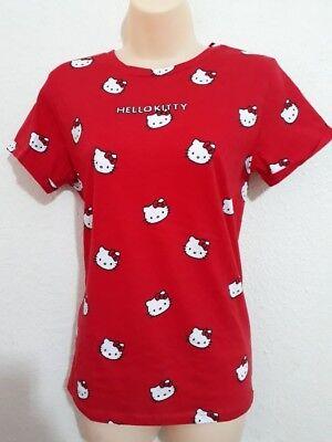 Femmes Primark Hello Kitty Rouge Edition Noel Top T Shirt Femme Bnwt