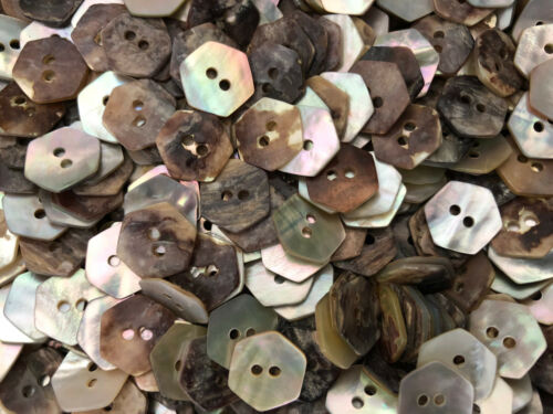 """50 REAL PEARL SHELL HEXAGON SHAPE BUTTONS 1//2/"""" 13MM 2hole"""