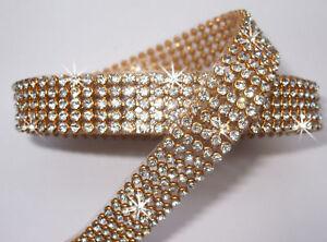 3mm-CHATON-5strip-CLR-GLD-iron-on-CRYSTAL-DIAMANTE-REEL-ribbon-chain-garment