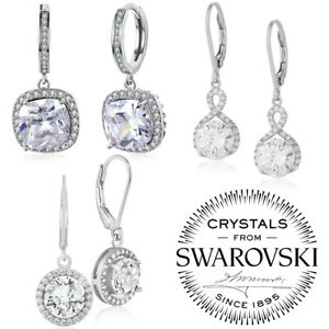 Silver-Plated-Drop-Earrings-RIVOLI-8-mm-Crystals-from-Swarovski